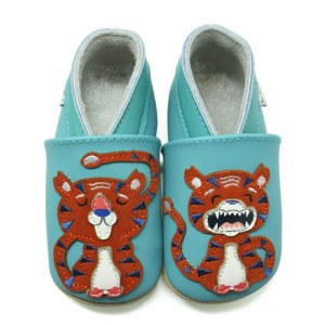 Soft Leather Baby Slippers Tiger