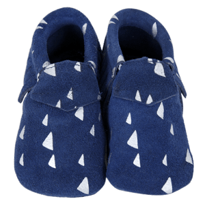 Navy Suede Baby Moccasin Slippers
