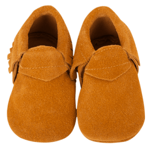 Camel Suede Baby Moccasin Slippers
