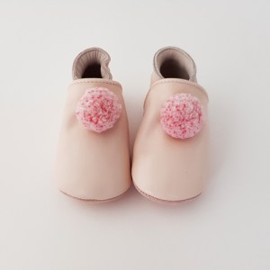 Baby Slippers With Pompoms Pastel Pink