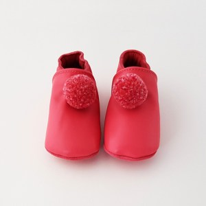 Baby Slippers With Pompoms Fuschia kids shoes