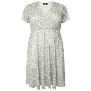 Plus Size V Neck Wrap Dress Sage Floral ( Pack of 6)
