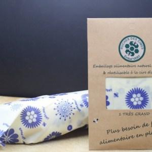 Emballage alimentaire à la cire d'abeille. Très grand Embal – 45cm x 55cm (Blanc Avec Motifs Fleurs Bleues)