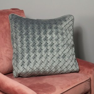 Woven Grey Velvet Cushion – Feather Filled