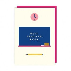 Best Teacher Greeting Card pack of 6 - best teacher env 500x500