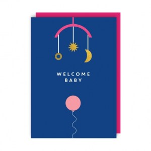 Welcome Baby Greeting Card pack of 6 - welcome baby env 500x500