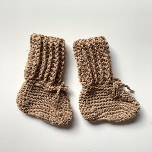Organic Cotton Tall Cotton Booties – Sand