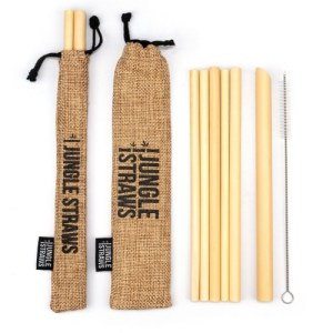 Reusable Bamboo Drinking Straws with Coloured Pouch (Set of 6) – Wheat
