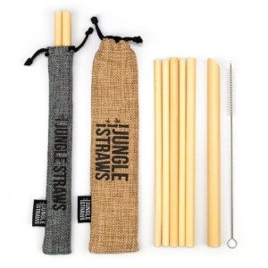Reusable Bamboo Drinking Straws with Coloured Pouch (Set of 6) – Slate