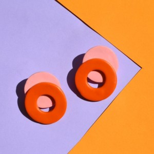 Memphis Loop Studs, Terra and Pink - DSC 0361 500x500