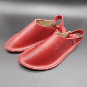 Valhalla Nordic moccasins/flat clogs. Opplav Clogs. Handcrafted in Europe. 100% leather and rubber sole(Red)