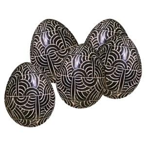 Vie Naturals Soapstone Egg, 5 Pcs, 6cm, Etched Black