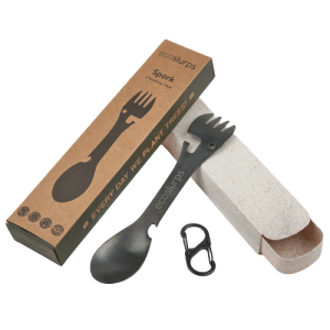 Spork With Carry Clip & Wheat Straw Carry Case
