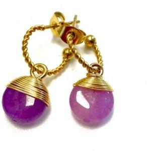 Twisted earrings with purple gemstone pendant - 55f5f92908dbb869a87cd6d5603e74f66616b159 500x500