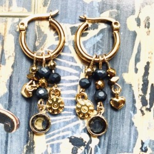 Earrings gold with petrol blue swarovski and gold charms - 0b457e9db575eb316d27d6800e3333bfc87d3c72 500x500