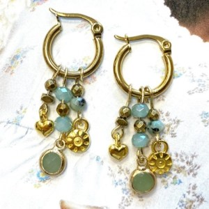 Earrings gold with swarovski pastel green and gold charms - 9a21352b5c7991d9bd0e99bf8fb8a7945bd30c1d 500x500