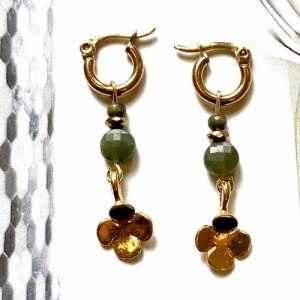 Earrings gold with gemstone and clover - 1ee9a40d4aeb42e2653fd002037cb0b8c454a9fc 500x500