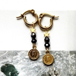 Earrings gold with crystal black and charm coin and star - 73f8d27ced36846b5868bab1b62ad93ef5c96e2d 500x500