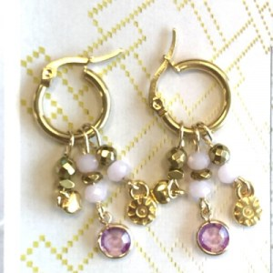 Earrings gold with pink crystal and gold charms - 7da3ba28faf61b9a3d180a3f1d6cf607e1217181 500x500