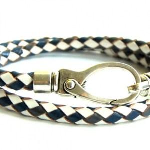Mens bracelet round braided blue / white leather - 0f1539f89eb21a075b63d73d79c5c16453605498 500x500