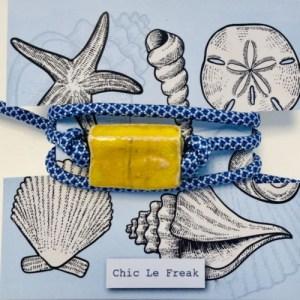Bracelet ceramic block yellow, paracord blue white - 19ac8e3763c92fc4342a66a0c25dcd368dadca9e 500x500
