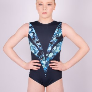 "Sleeveless leotard round neck ""Blue Glitter"""