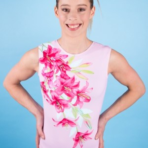"Sleeveless leotard round neck ""Pink Lilly"""