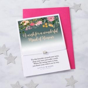 Wonderful Maid of Honour Green Floral Wish Bracelet (WISH271)