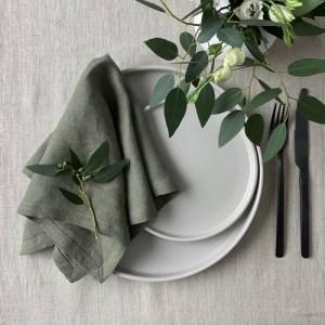 Linen Napkins Artichoke Green – Set of 4