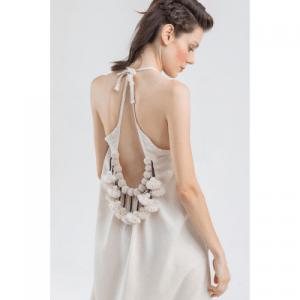 Linen Pompom Slip Dress