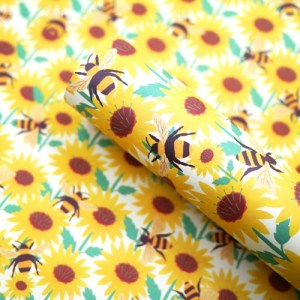 Sunflower & Bee Recycled Gift Wrap