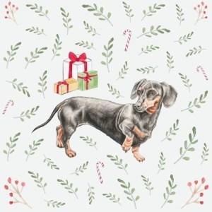 Dachshund blank Christmas greeting card