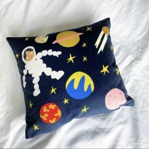 Astronaut Velvet Cushion 12×12