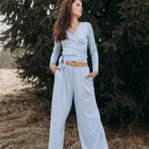 ORGANIC COTTON FLOWY PANTS AND WRAP TOP SET – LIGHT BLUE – S/M