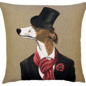 decorative pillow cover whippet with scarf
