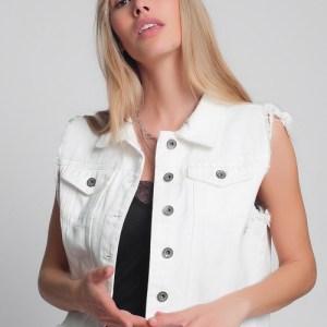DENIM VEST IN WHITE jacket