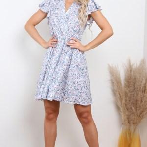 Blue Daisy Floral Wrap Front Mini Dress y Lilura London