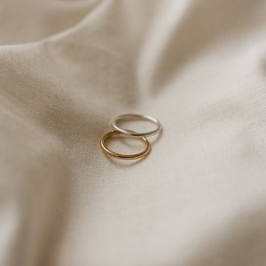 9ct Gold Minimal Stacking Ring - Silver and gold stacking rings 2 500x500