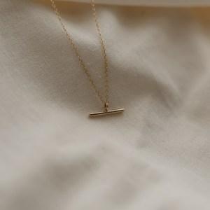 9ct Gold Minimal Bar Necklace (Copy) - Polished gold bar necklace 500x500