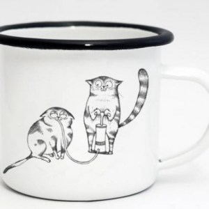 Ligarti Enamel Cup   Hand finished   Design Mug   Helium Cat Pump – 300ml