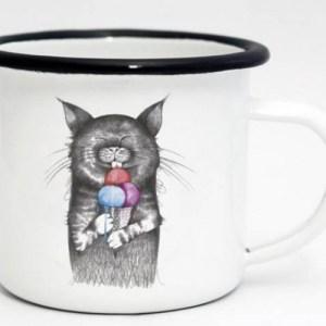 Ligarti Enamel Cup   Hand finished   Design Mug   Gourmet Cat – 300ml