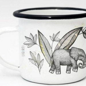 Ligarti Enamel Cup   Hand finished   Design Mug   Elephants – 300ml