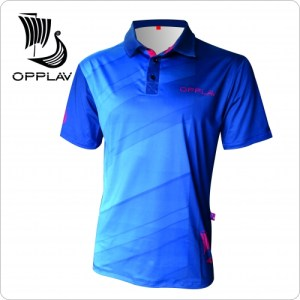 Opplav Niflheim Mens Polo shirt. Very technical, made of fast drying polyester. Flat seams 5 threads. High performance garment.(Blue)