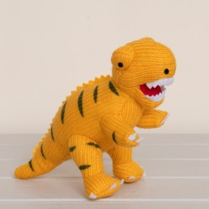 Knitted Yellow T Rex Dinosaur Soft Toy