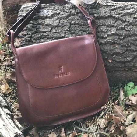 Handmade chocolate leather handbag by Burghley Bags