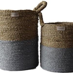 Bandung – Storage Basket Natural / Gray M/L Set of 2