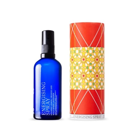 andaluz energising spray in bright blue glass reusable bottle. it comes with a colorful circular reusable box with award winning spanish design.
