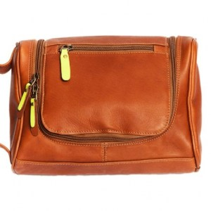 Toiletry bag with hanging hook – Cognac yellow