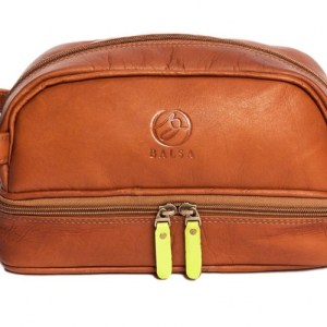Toiletry bag with compartment – Cognac yellow