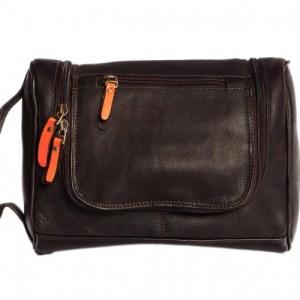 Toiletry bag with hanging hook – Orange coffee